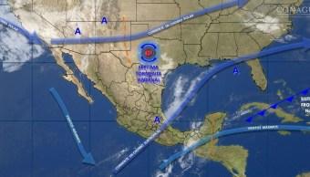 Mapa con el pronóstico del clima para este 17 de febrero; sistema invernal y frente frío afectan al país. (SMN)
