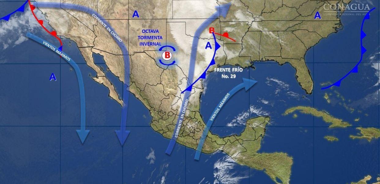 Mapa con el pronóstico del clima para este 20 de febrero; prevén caída de nieve en el norte del país. (SMN)