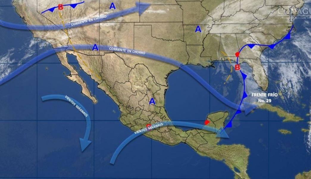 Mapa con el pronóstico del clima para este 22 de febrero; seguirán los vientos fuertes. (SMN)