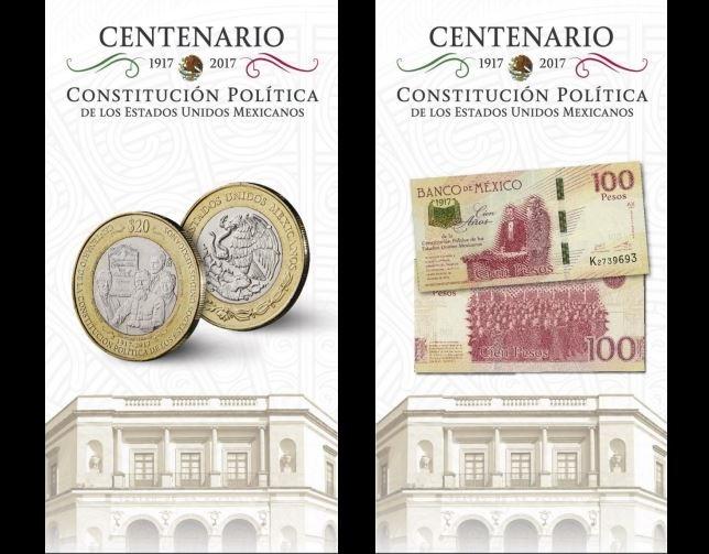 Presentan billete y moneda conmemorativa por el centenario de la Constitución de 1917 (Twitter @Banxico)