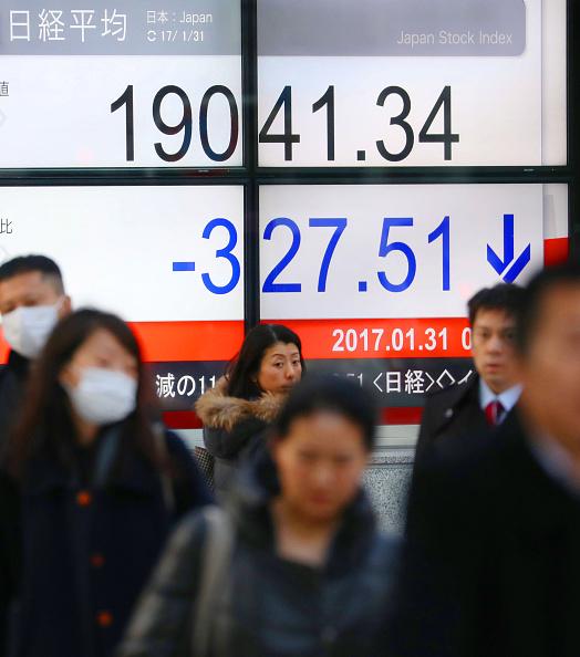 Tablero de la Bolsa de Tokio. (Getty Images)