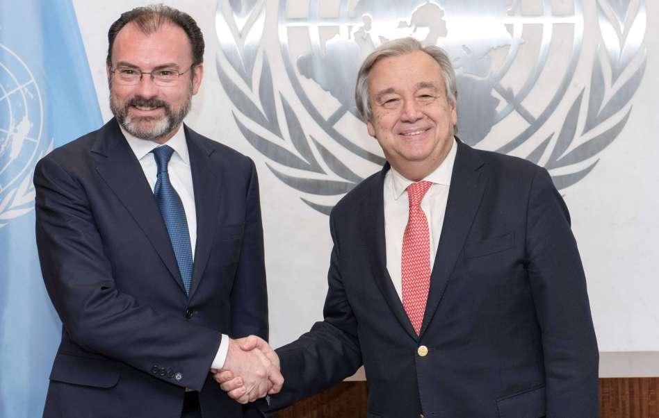 El secretario de Relaciones Exteriores de México se reunió con el secretario general de la ONU, António Guterres. (ONU)