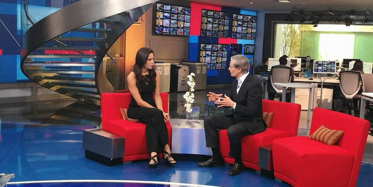 Alfredo del Mazo en entrevista con Paola Rojas. (Noticieros Televisa)