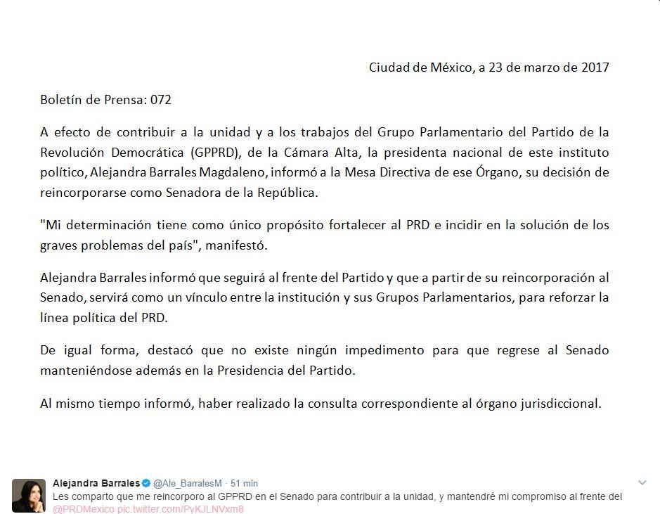 Alejandra Barrales comparte en su cuenta de Twitter la carta que envió a la Mesa Directiva del Senado, para solicitar su retorno a las actividades legislativas. (@Ale_BarralesM)