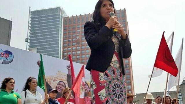 Alejandra Barrales en la reunión del partido por el Día Internacional de la Mujer (Twitter/@Ale_BarralesM)