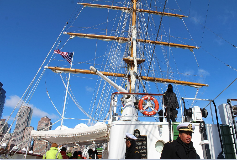 El buque escuela Cuauhtémoc atraca en el puerto de Boston, la principal ciudad de la zona de Nueva Inglaterra (NTX)