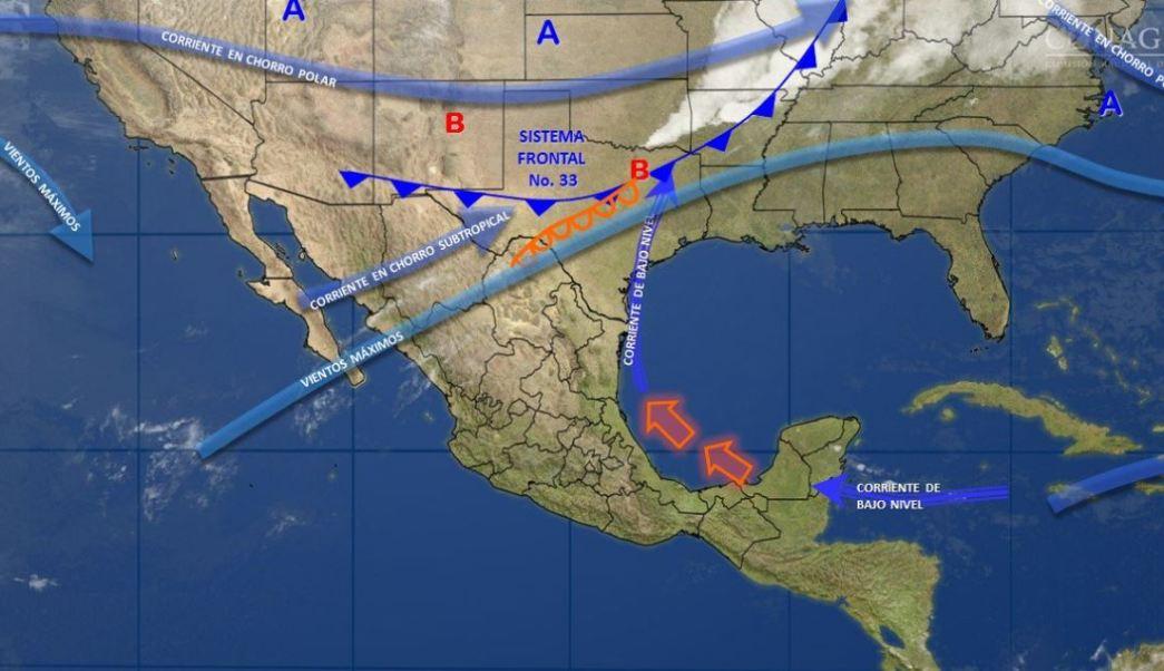 Mapa con el pronóstico del clima para este 7 de marzo; el frente frío 33 se localizará en el norte y noreste del país. (SMN)