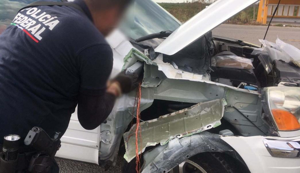 PF aseguró 6 kilos de cocaína oculta en la carrocería de un vehículo en Campeche.