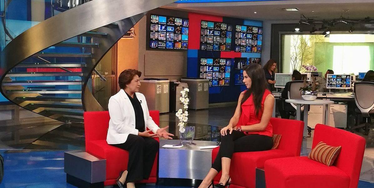 Delfina Gómez en Al aire con Paola Rojas. (Noticieros Televisa)
