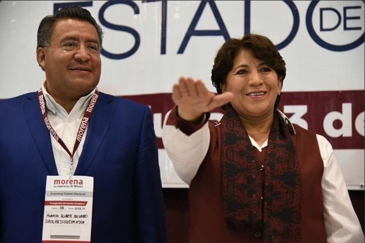 Delfina Gómez Álvarez toma protesta como candidata de Morena a la gubernatura del Estado de México (Twitter @XochitlMorena)