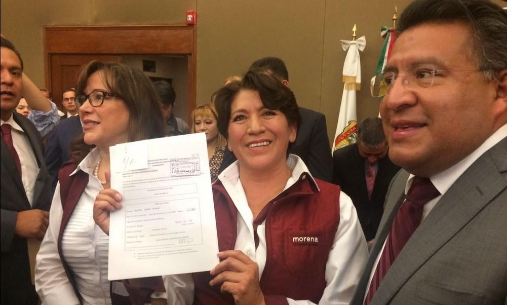 Delfina Gómez se registró como candidata de Morena a la gubernatura del Edomex. (Twitter @delfinagomeza)