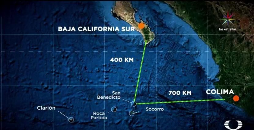 El Archipiélago de Revillagigedo es un tesoro natural ubicado a 400 kilómetros de Baja California Sur y a 700 kilómetros de Colima. (Noticieros Televisa)