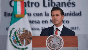 Enrique Peña Nieto durante su discurso ante la comunidad libanesa en México. (Facebook Presidencia)