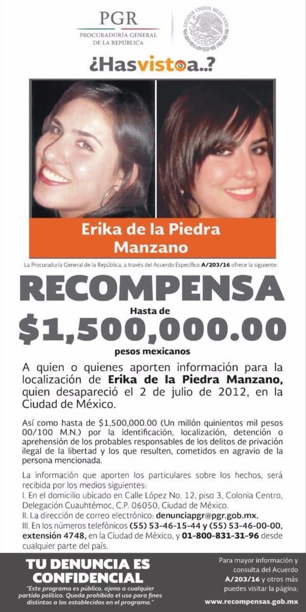 Érika de la Piedra desapareció al salir de un centro comercial ubicado en Avenida Cuauhtémoc en la Ciudad de México. (PGR)