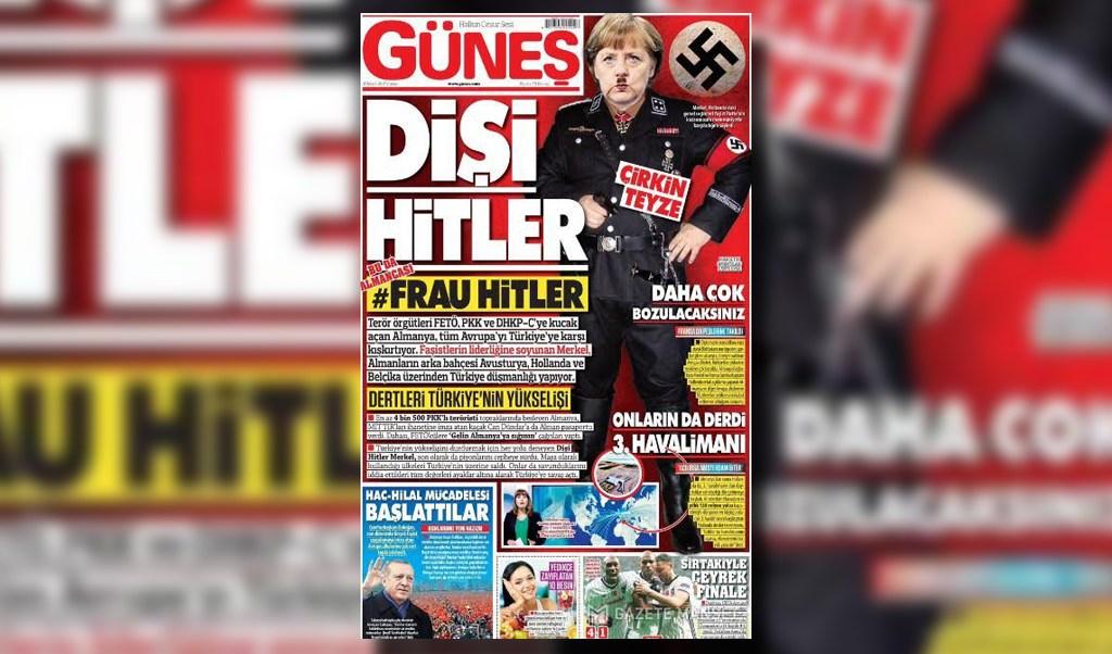 Fotomontaje de Angela Merkel titulado Frau Hitler en un diario turco (Twitter @OnlineMagazin)