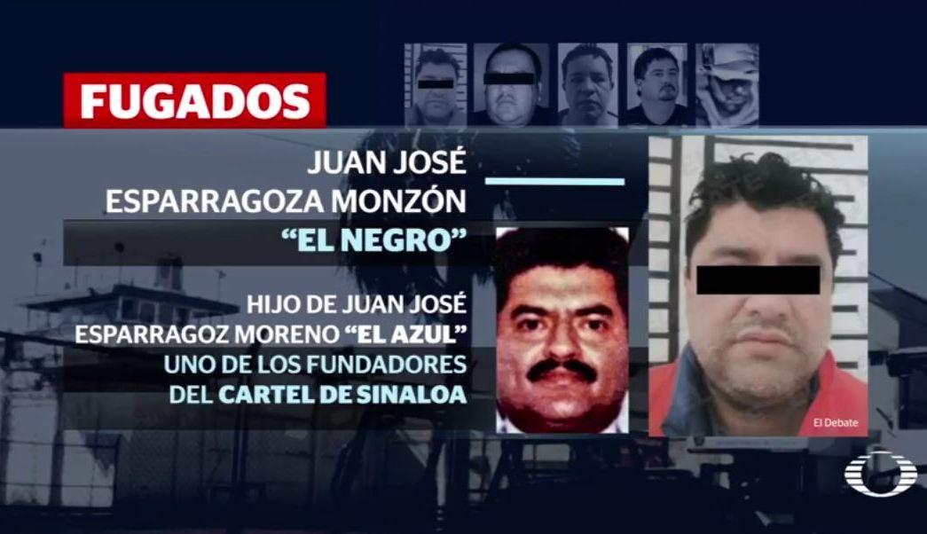 """Estos son los perfiles de los reos que se fugaron del penal de Aguaruto, Sinaloa, entre ellos Juan José Esparragoza Monzón, alias """"El Negro"""", quien duró menos de 2 meses recluido en esa cárcel. (Noticieros Televisa)"""