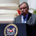 El secretario general de la ONU, Antonio Guterres, en una conferencia de prensa tras celebrar una reunión con el presidente de Kenia, Uhuru Kenyatta (Reuters)