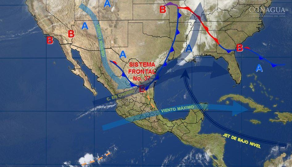 Mapa con el pronóstico del clima para este 30 de marzo; prevén lluvias en Puebla, Veracruz y Oaxaca. (SMN)