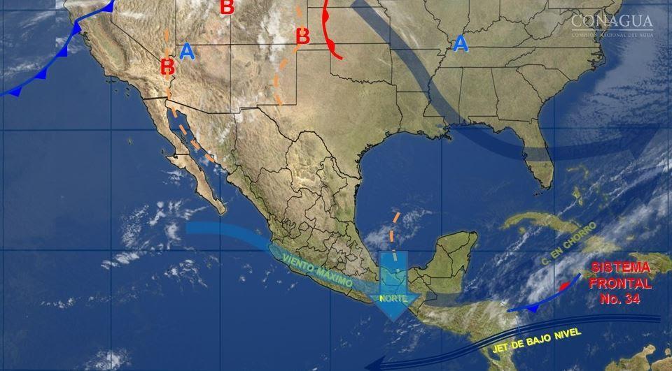 Mapa con el pronóstico del clima para este 16 de marzo; seguirá lloviendo en gran parte de México. (SMN)