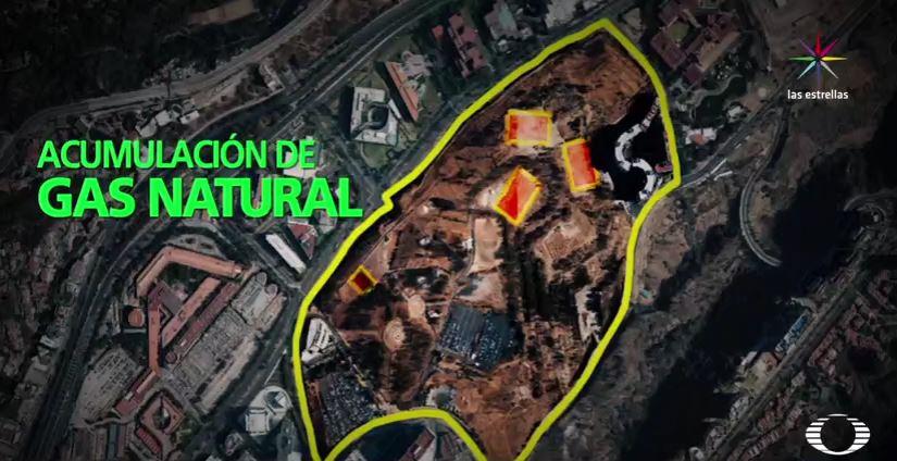 Mapa de la Alameda Poniente y el gas natural en Santa Fe (Noticieros Televisa)