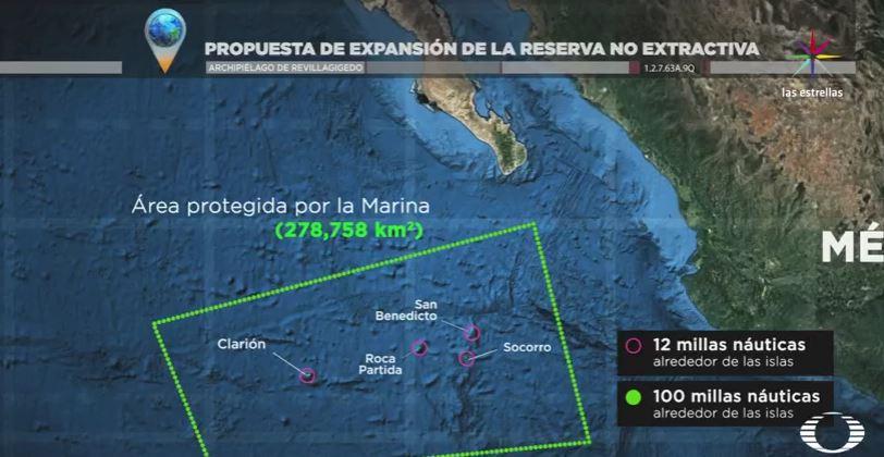 Mapa de la propuesta para extender la zona de exclusion de pesca en las Islas Revillagigedo (Noticieros Televisa)