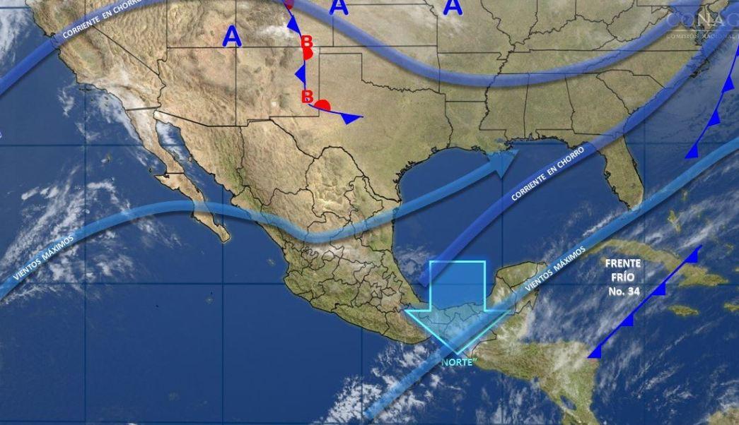 Mapa con el pronóstico del clima para este 15 de marzo; frente frío 34 provoca lluvia en gran parte de México. (SMN)