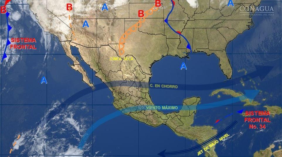 Mapa con el pronóstico del clima para este 20 de marzo; pronostican fuertes vientos y lluvias para el centro de México. (SMN)