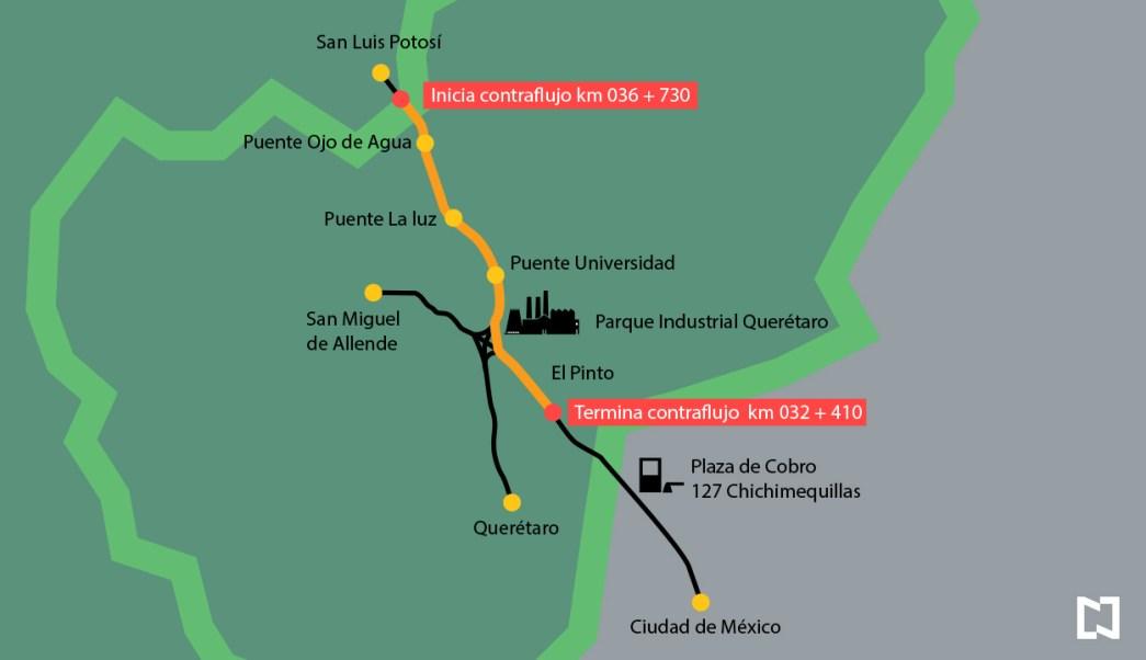 Mapa del contraflujo en la autopista México-Querétaro (Noticieros Televisa)
