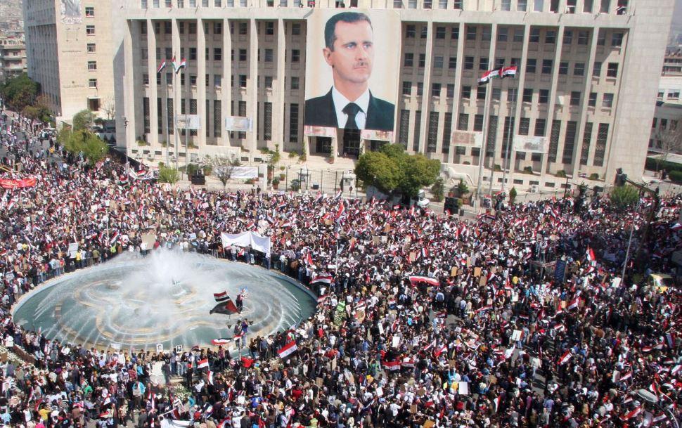 Marcha a favor de Bashar Al Assad en Damasco, en marzo de 2011 (AP, archivo)