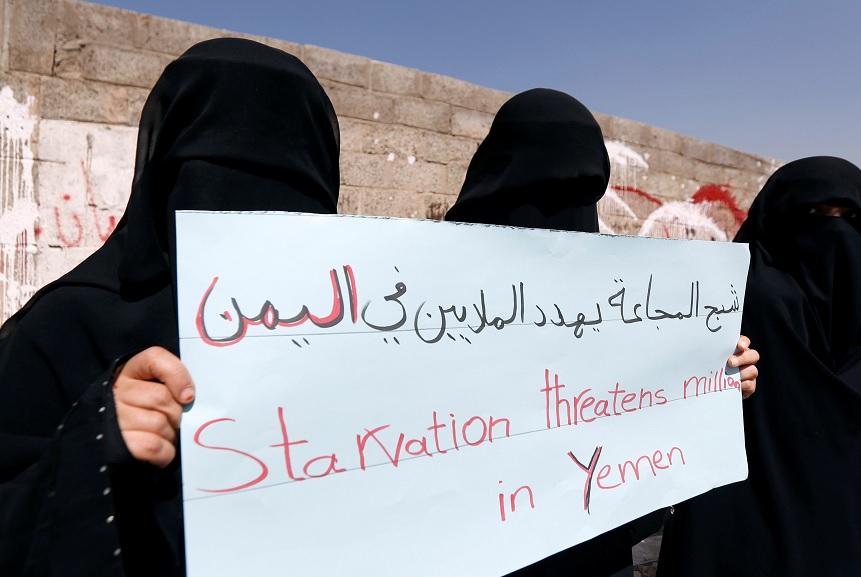 El Día Internacional de la Mujer fuera de las oficinas de las Naciones Unidas en Sanaa, Yemen (AP)