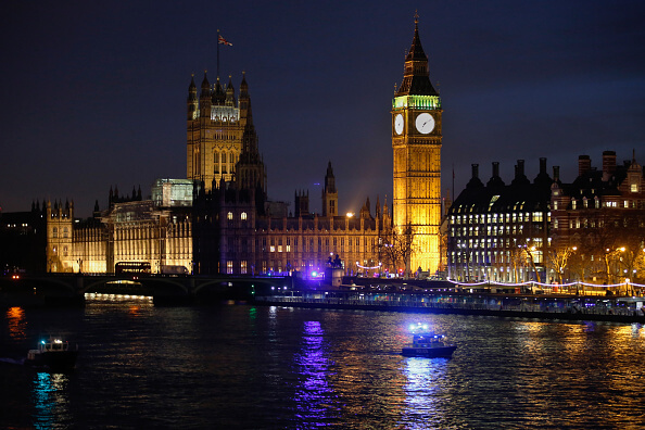El Palacio de Westminster ha sido el centro del poder británico por más de 900 años y actualmente alberga a la rama legislativa del Reino Unido. (Getty images, archivo)
