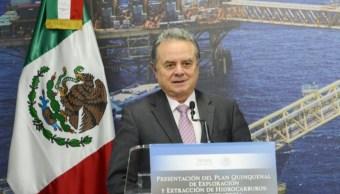 El secretario de Energía, Pedro Joaquín Coldwell, encabezó la presentación de la actualización del Plan Quinquenal de Licitaciones para la Exploración y Extracción de Hidrocarburos 2015-2019.