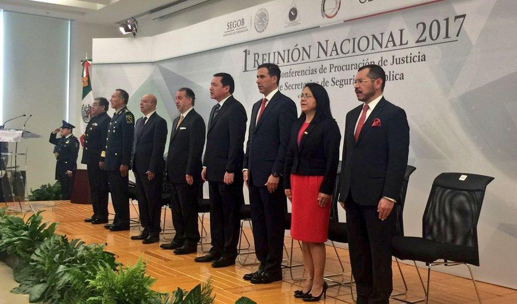 Primera Reunión Nacional 2017 de las Conferencias de Procuración de Justicia y de Secretarios de Seguridad Pública. (Twitter/ @Alvaro_Vizcaino)