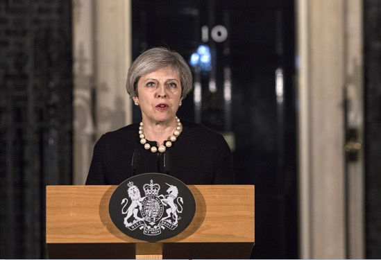 Theresa May, primera ministra británica, en conferencia de prensa.
