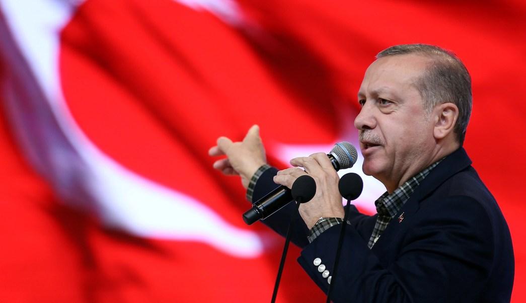 El presidente de Turquía, Tayyip Erdogan, durante un discurso en una reunión en Estambul (Reuters)