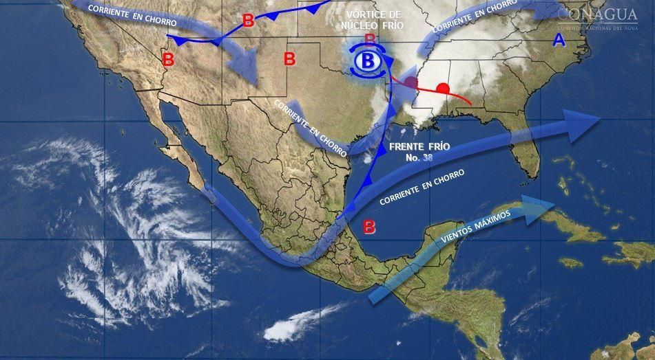 Mapa con el pronóstico del clima para este 3 de abril; se mantendrán vientos fuertes en el noroeste de México. (SMN)