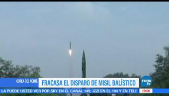 Fracasa, Lanzamiento, misil balístico, norcoreano, Corea del Norte, Estados Unidos