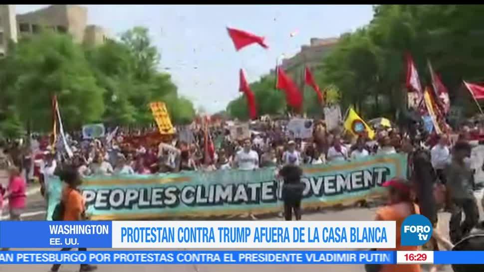 Manifestaciones, Contra, Trump, Washington, Nueva York, Estados Unidos, Medio Ambiente