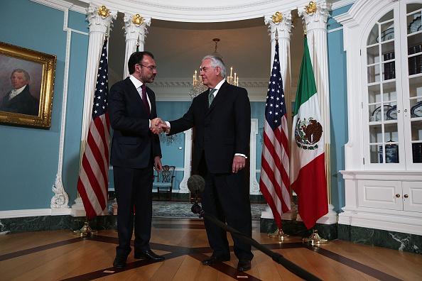 El canciller Luis Videgaray y el secretario de Estado de Estados Unidos, Rex Tillerson. (Getty Images)
