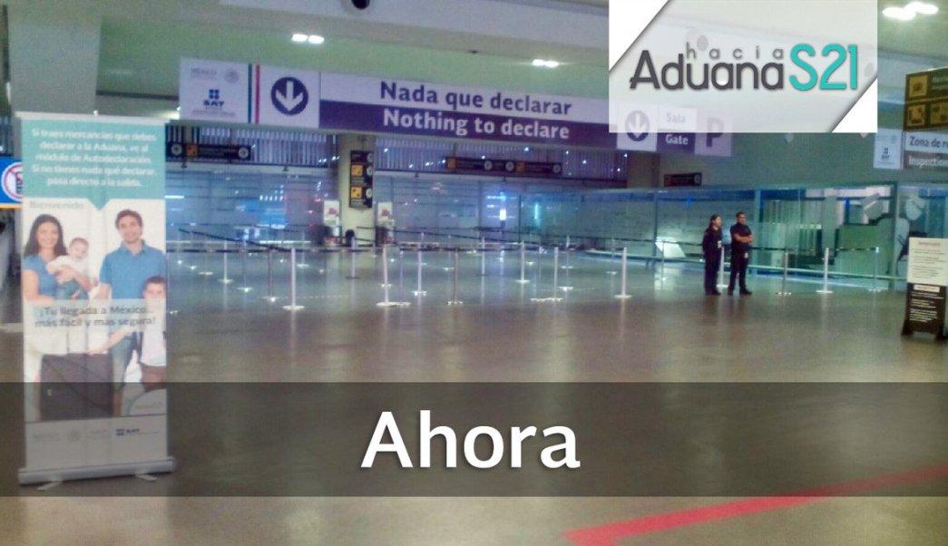 En la Terminal 2 del AICM se redujeron los tiempos de espera en aduana. (Twitter: @SATMX)