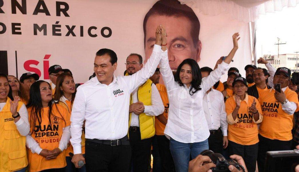 Alejandra Barrales en campaña con Juan Zepeda. (Twitter @Ale_BarralesM)
