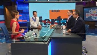 Ana Francisca Vega, Carlos Loret, Enrique Campos y Juan Pardinas en la mesa de Despierta con Loret (Noticieros Televisa)