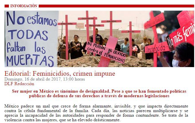 Feminicidios, crímenes impunes: Arquidiócesis de México