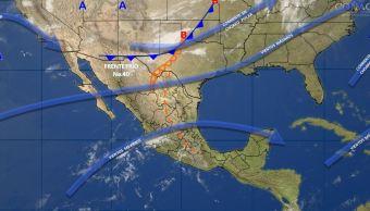 Mapa con el pronóstico del clima para este 10 de abril; frente frío 40 provocará fuertes vientos en el norte de México. (SMN)