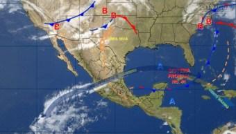 Mapa con el pronóstico del clima para este 25 de abril; nuevo frente frío provocará viento fuerte en el noroeste de México. (SMN)