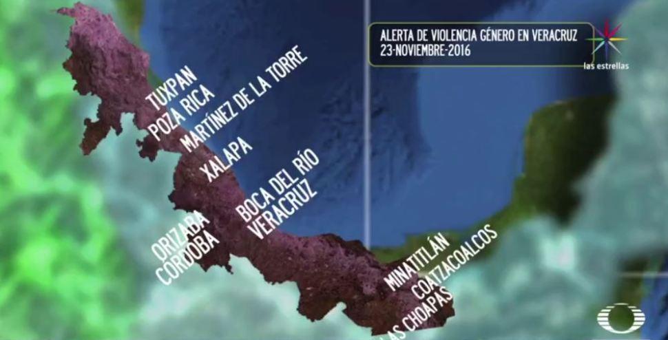 Mapa de la alerta de violencia de género en Veracruz (Noticieros Televisa)