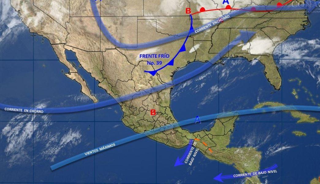 Mapa con el pronóstico del clima para este 5 de abril; el frente frío 39 refrescará las temperaturas en México. (SMN)