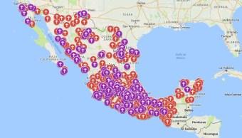 El año 2017 se representa de color morado y el 2016 de rojo. (Google Maps)
