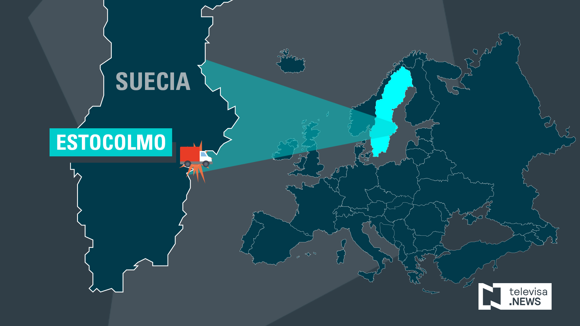 Mapa que resalta la ubicación de Estocolmo, donde se registró un atentado (Noticieros Televisa)