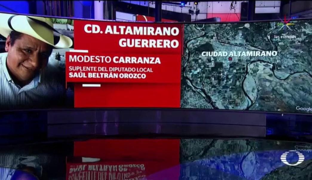 Modesto Carranza, suplente del diputado local, Saúl Beltrán Orozco. (Noticieros Televisa)